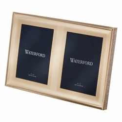 """Lismore Diamond Gold 5x7"""" Double Frame by Waterford"""