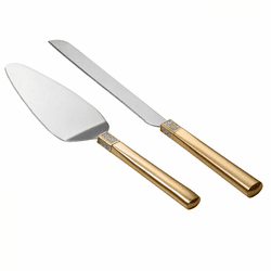Lismore Diamond Gold Cake Knife & Server by Waterford