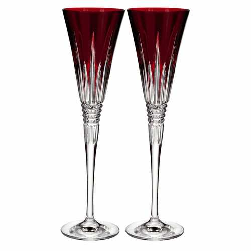 Lismore Diamond Red Toasting Flute Pair by Waterford