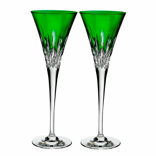 Lismore Pops Emerald Flute Pair by Waterford