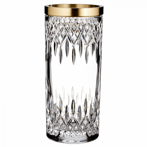 """Lismore Reflection 12"""" Vase with Gold Band by Waterford"""