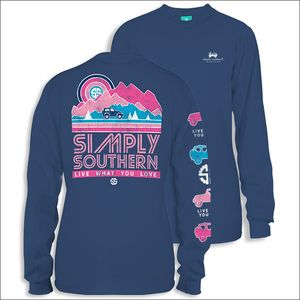 Live What You Love Mountain Retro Moonrise Long Sleeve Tee by Simply Southern