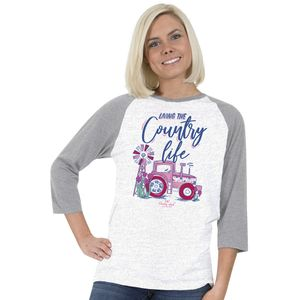 Living The Country Life White and Gray Country Chick Long Sleeve Tee by Simply Southern