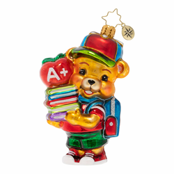 Love To Learn Teddy Ornament by Christopher Radko