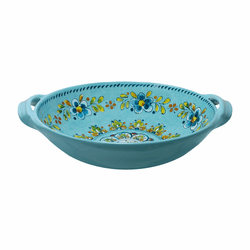 "Madrid Turquoise 13"" Large Two-Handled Bowl by Le Cadeaux"