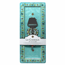 "Madrid Turquoise 18"" x 7"" Rectangle Serving Platter with Cheese Utensils Set by Le Cadeaux"