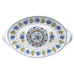 "Madrid White 18"" Large Two-Handled Oval Platter by Le Cadeaux"