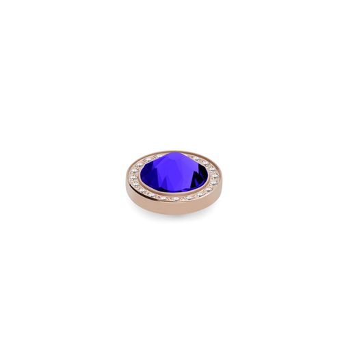 Majestic Blue 10.5mm Rose Gold with Crystal Border Interchangeable Top by Qudo Jewelry