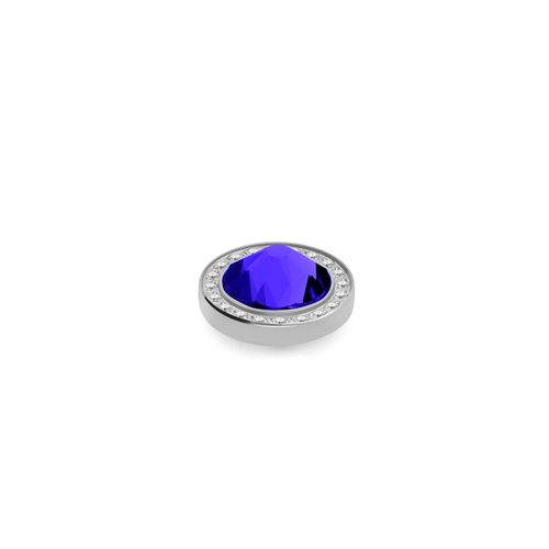 Majestic Blue 10.5mm Silver with Crystal Border Interchangeable Top by Qudo Jewelry