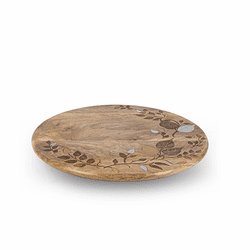 "Mango Wood with Laser and Metal Inlay Leaf Design 16"" Lazy Susan - GG Collection"