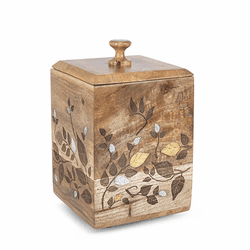 Mango Wood with Laser and Metal Inlay Leaf Design Large Canister - GG Collection