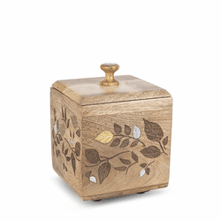 Mango Wood with Laser and Metal Inlay Leaf Design Small Canister - GG Collection