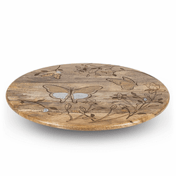 "Mango Wood with Laser Butterfly Design 22"" Lazy Susan - GG Collection"