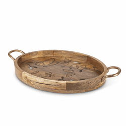 Mango Wood with Laser Butterfly Design Oval Tray with Handles - GG Collection