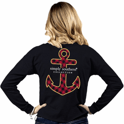 Medium Anchor Black Shortie Long Sleeve Tee by Simply Southern
