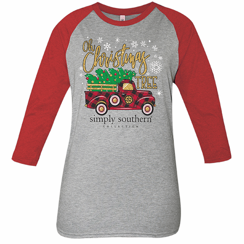 Medium Gray and Red Christmas Tree Truck Long Sleeve Tee by Simply Southern