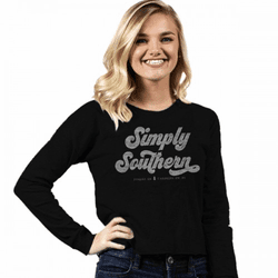 Medium Logo Black Shortie Long Sleeve Tee by Simply Southern