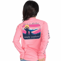 Medium Love is an Adventure Flamingo Pink Long Sleeve by Simply Southern