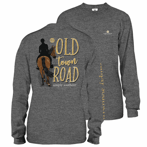 Medium Old Town Road Dark Heather Gray Long Sleeve Tee by Simply Southern