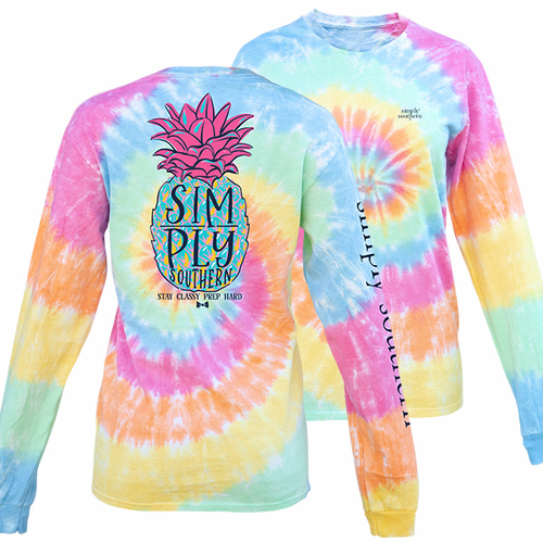 Medium Pineapple Tiedye Long Sleeve Tee by Simply Southern