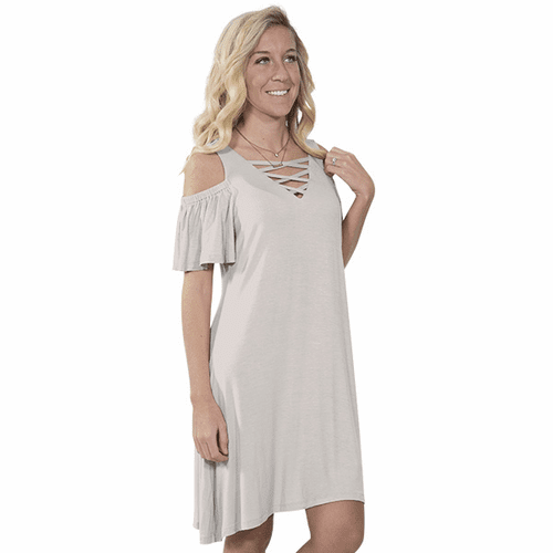 Medium Sand Vilano Short Sleeve Tunic by Simply Southern