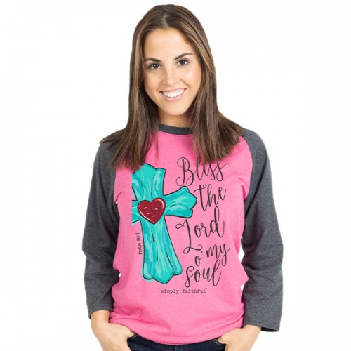 Medium Simply Faithful Pink Lord Long Sleeve Tee by Simply Southern