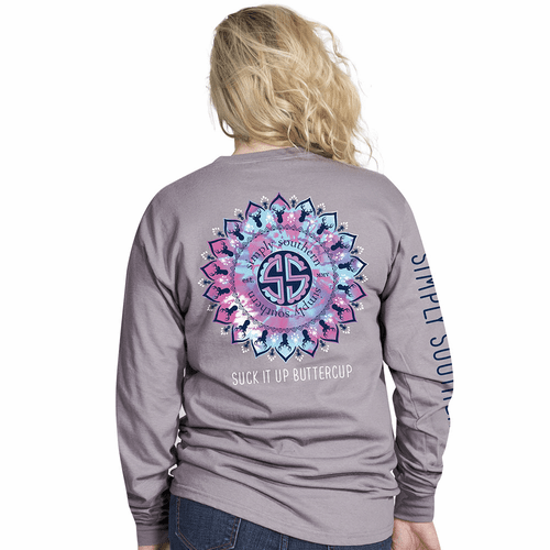 Medium Suck It Up Buttercup Steel Long Sleeve Tee by Simply Southern