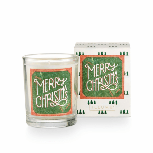 Merry Christmas Boxed Glass Votive by Illume Candle