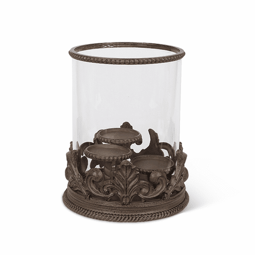 Metal Acanthus Leaf Triple Candle Holder with Glass Cylinder - GG-Collection