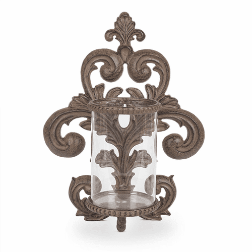 Metal Acanthus Leaf Wall Sconce with Glass Cylinder - GG-Collection (Special Order)