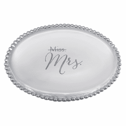 Miss (crossed out) Mrs. Beaded Oval Tray by Mariposa