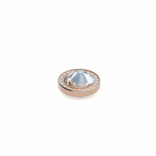 Moonlight 10.5mm Rose Gold with Crystal Border Interchangeable Top by Qudo Jewelry