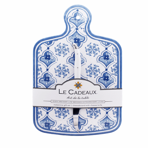 Moroccan Blue Cheese Board With Knife Set by Le Cadeaux