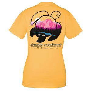 Mustard Save the Turtles Mountain Adventure Short Sleeve Tee by Simply Southern