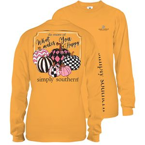 Mustard Yellow Do More Of What Makes You Happy Long Sleeve Tee by Simply Southern