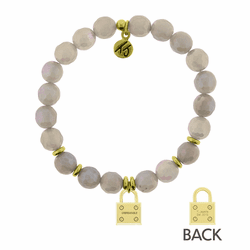 Mystic Grey Agate Stone Bracelet with Unbreakable Gold Charmby T. Jazelle