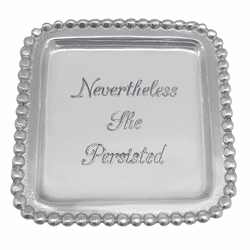 Nevertheless She Persisted Beaded Square Tray by Mariposa