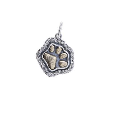Sterling Silver/Brass/Swarovski Heart's Content Paw Charm by Waxing Poetic