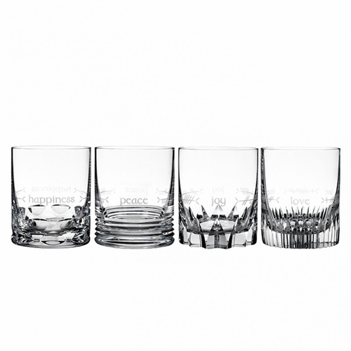 Ogham Double Old Fashioned Set of 4 (Happiness, Joy, Love & Peace) by Waterford