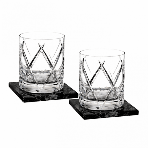 Olann Double Old Fashioned Pair with Marble Coasters by Waterford
