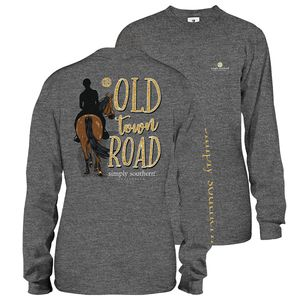 Old Town Road Dark Heather Gray Long Sleeve Tee by Simply Southern