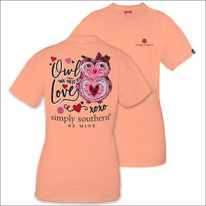 Owl You Need is Love Peachy Short Sleeve Tee by Simply Southern