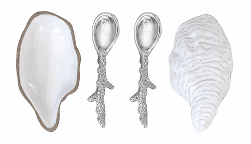 Oyster Ceramic Open Salt Spoon by Mariposa