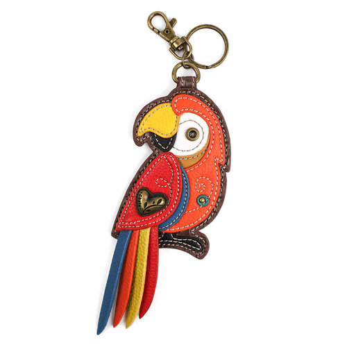 Parrot Red Key Fob and Coin Purse by Chala