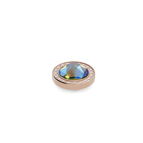 Peridot Shimmer 10.5mm Rose Gold with Crystal Border Interchangeable Top by Qudo Jewelry
