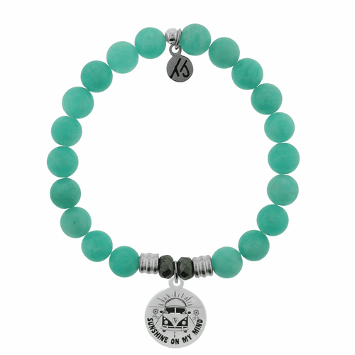 Peruvian Amazonite Stone Bracelet with Life's a Journey Sterling Silver Charmby T. Jazelle