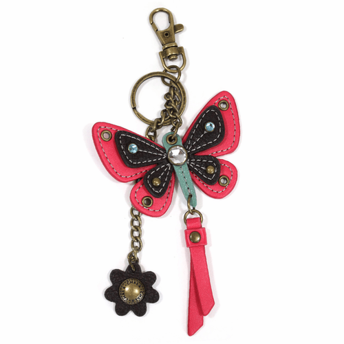 Pink Butterfly with Flower Mini Key Chain by Chala