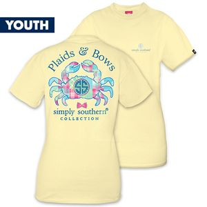 Plaids & Bows Crab YOUTH Short Sleeve Tee by Simply Southern