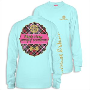 Plaids & Bows Marine Long Sleeve Tee by Simply Southern