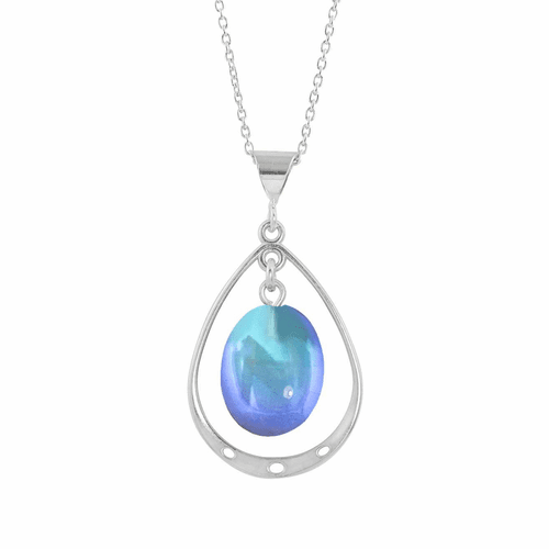 Polished Blue Oval with Loop Pendant  by LeightWorks Wearable Fine Art
